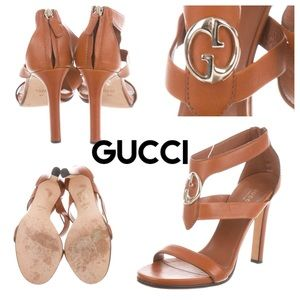Authentic Brown leather Gucci high-heel sandals.